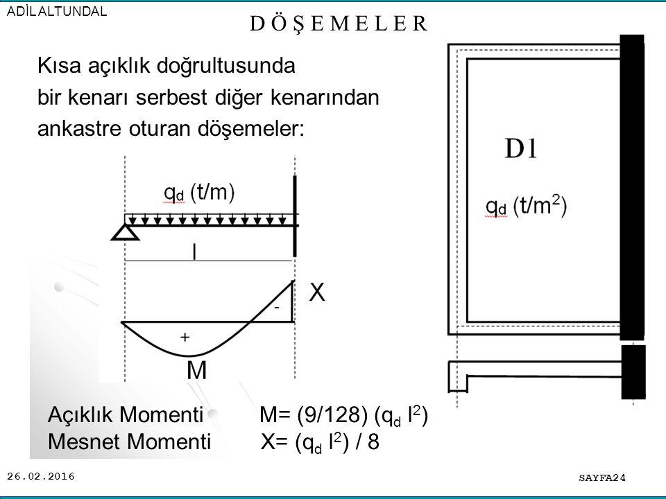 Açıklık Momenti M= (9/128) (qd l2) Mesnet Momenti X= (qd l2) / 8