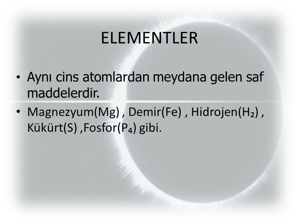 ELEMENTLER Aynı cins atomlardan meydana gelen saf maddelerdir.