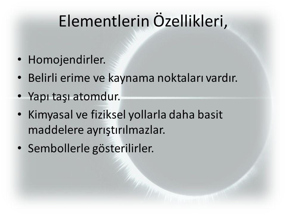 Elementlerin Özellikleri,