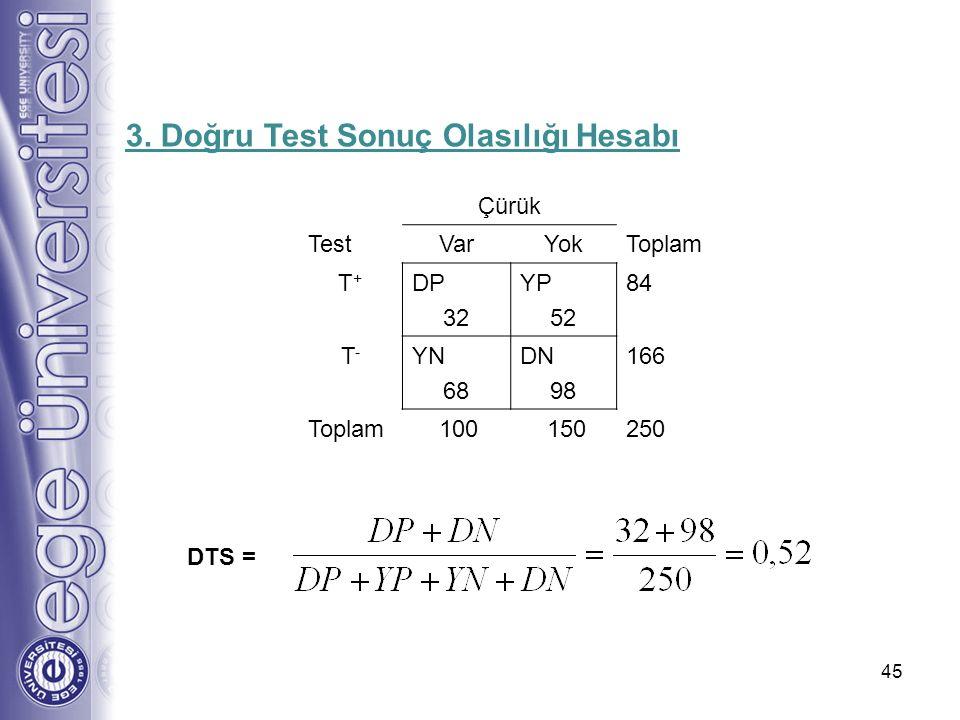 3. Doğru Test Sonuç Olasılığı Hesabı