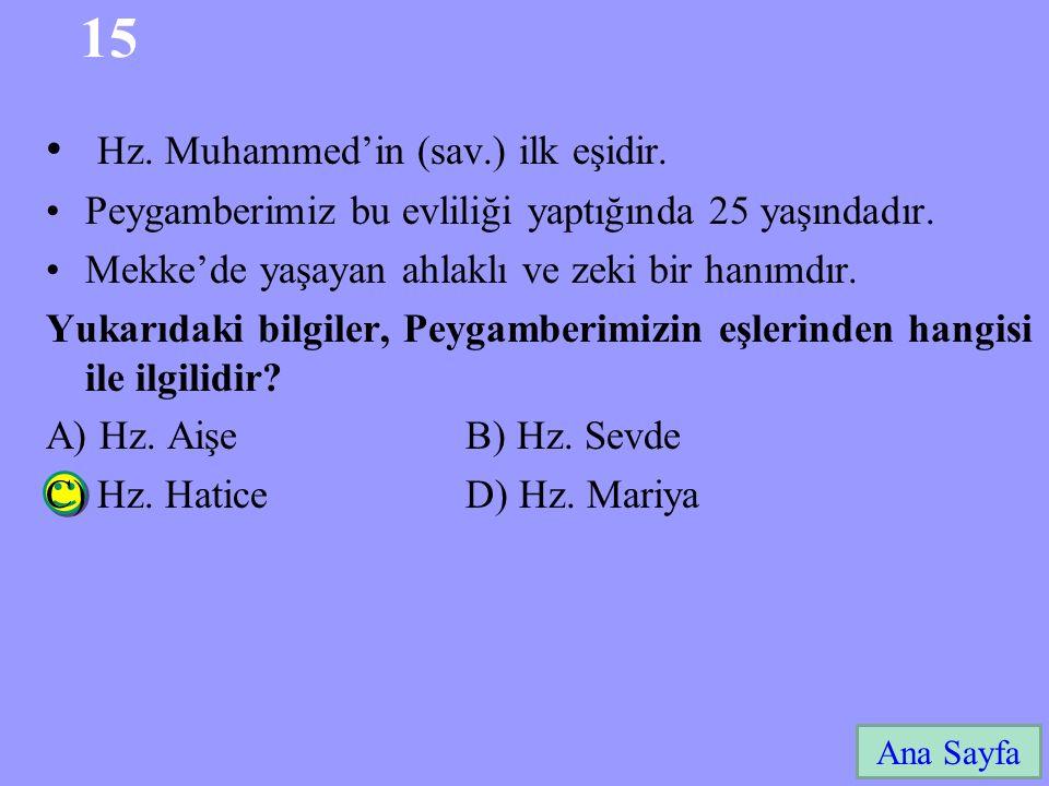 15 Hz. Muhammed'in (sav.) ilk eşidir.