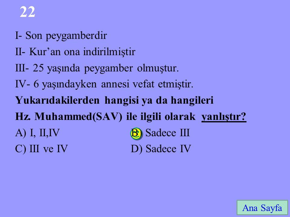 22 I- Son peygamberdir II- Kur'an ona indirilmiştir