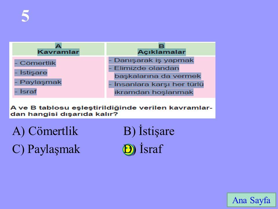 5 A) Cömertlik B) İstişare C) Paylaşmak D) İsraf Ana Sayfa