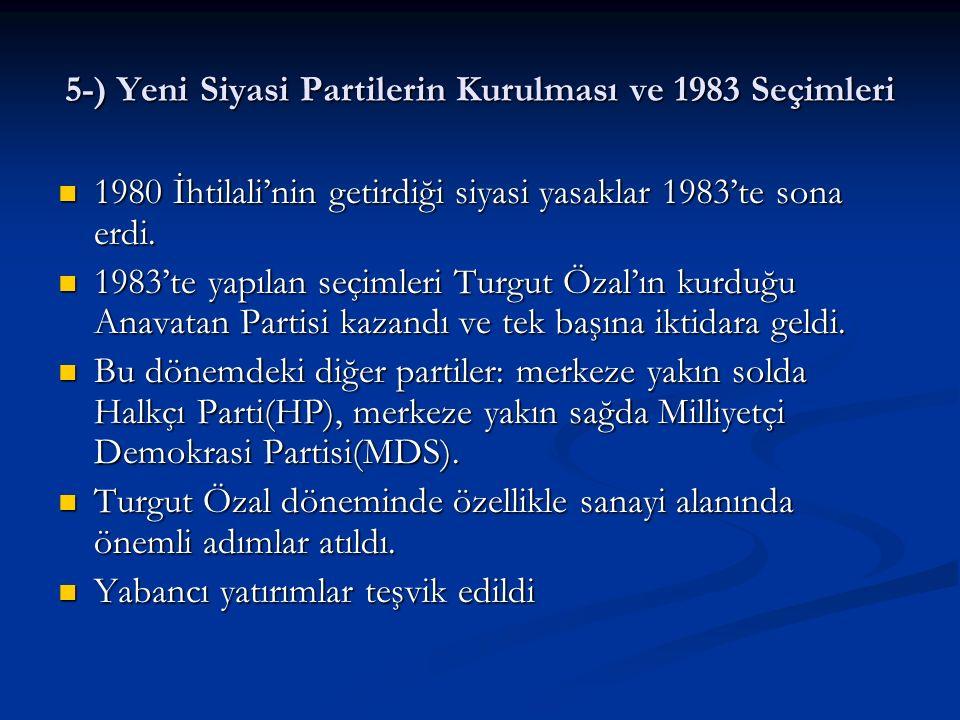 5-) Yeni Siyasi Partilerin Kurulması ve 1983 Seçimleri