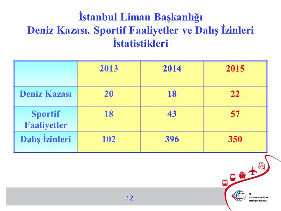 İstanbul Liman Başkanlığı Deniz Kazası, Sportif Faaliyetler ve Dalış İzinleri İstatistikleri