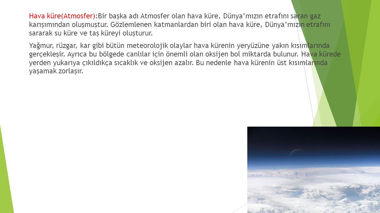 Hava küre(Atmosfer):Bir başka adı Atmosfer olan hava küre, Dünya'mızın etrafını saran gaz karışımından oluşmuştur.