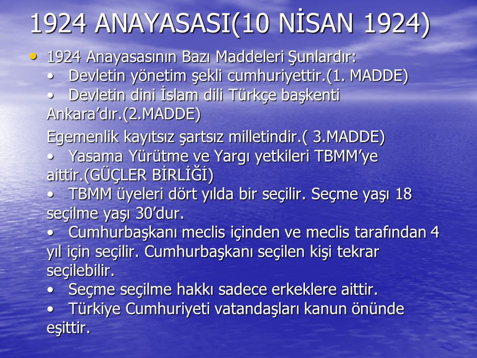 1924 ANAYASASI(10 NİSAN 1924)
