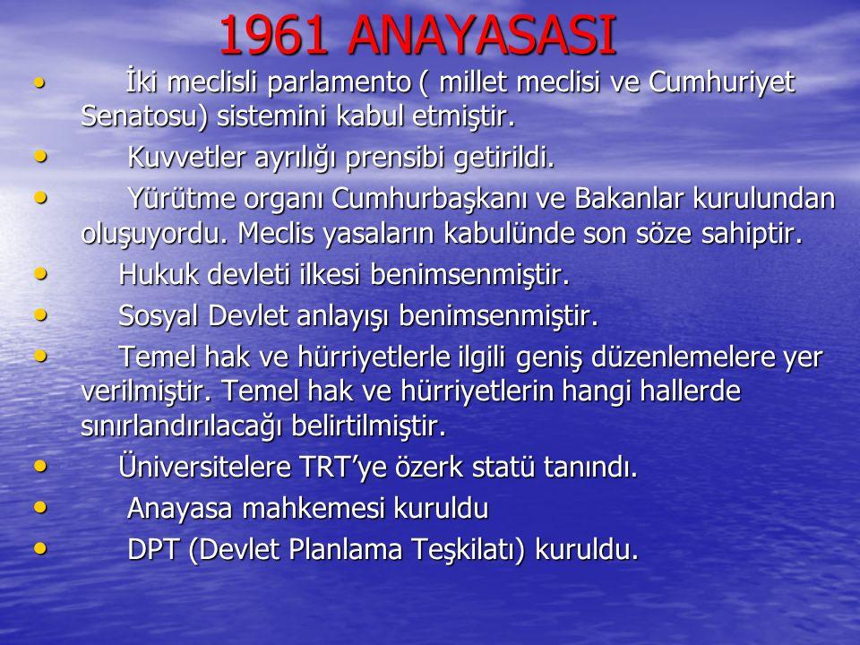 1961 ANAYASASI Kuvvetler ayrılığı prensibi getirildi.