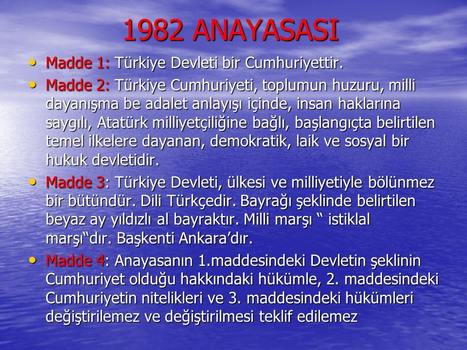 1982 ANAYASASI Madde 1: Türkiye Devleti bir Cumhuriyettir.