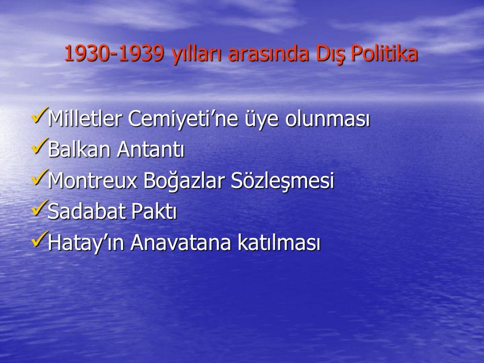 1930-1939 yılları arasında Dış Politika