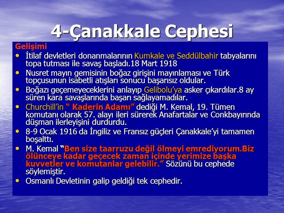 4-Çanakkale Cephesi Gelişimi