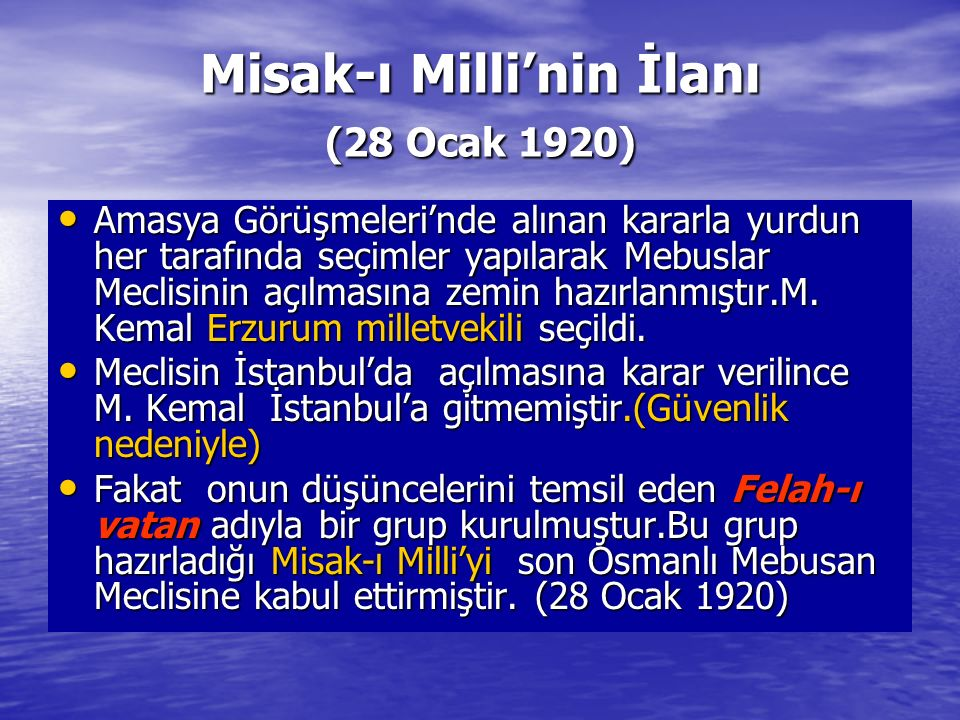 Misak-ı Milli'nin İlanı (28 Ocak 1920)