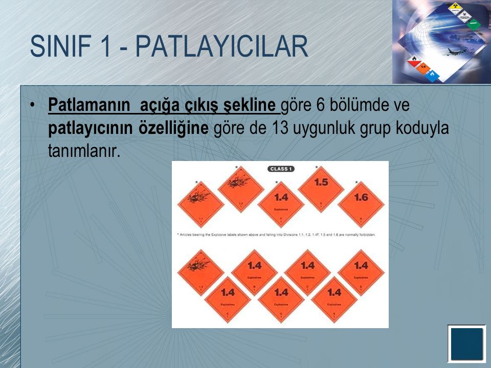 SINIF 1 - PATLAYICILAR Patlamanın açığa çıkış şekline göre 6 bölümde ve patlayıcının özelliğine göre de 13 uygunluk grup koduyla tanımlanır.