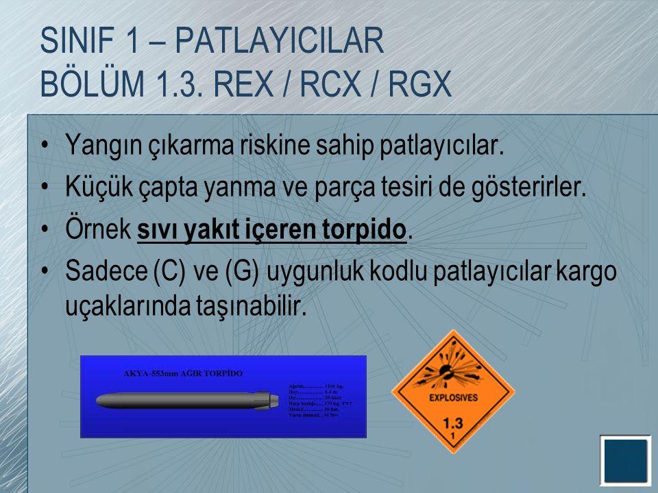 SINIF 1 – PATLAYICILAR BÖLÜM 1.3. REX / RCX / RGX