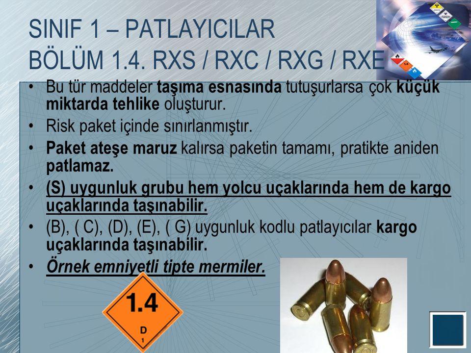 SINIF 1 – PATLAYICILAR BÖLÜM 1.4. RXS / RXC / RXG / RXE