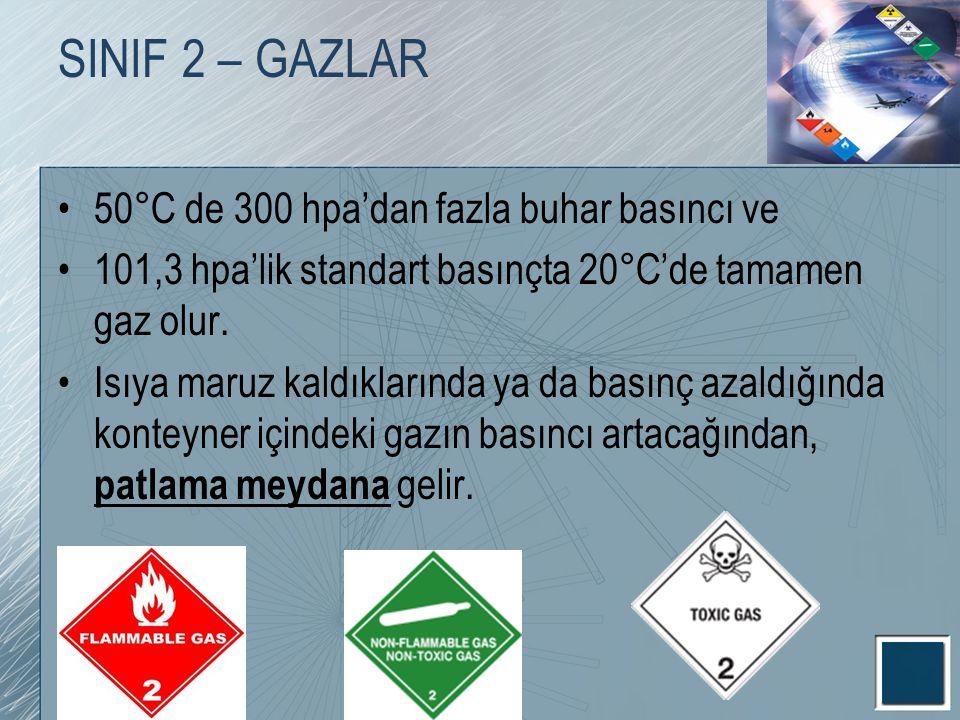 SINIF 2 – GAZLAR 50°C de 300 hpa'dan fazla buhar basıncı ve