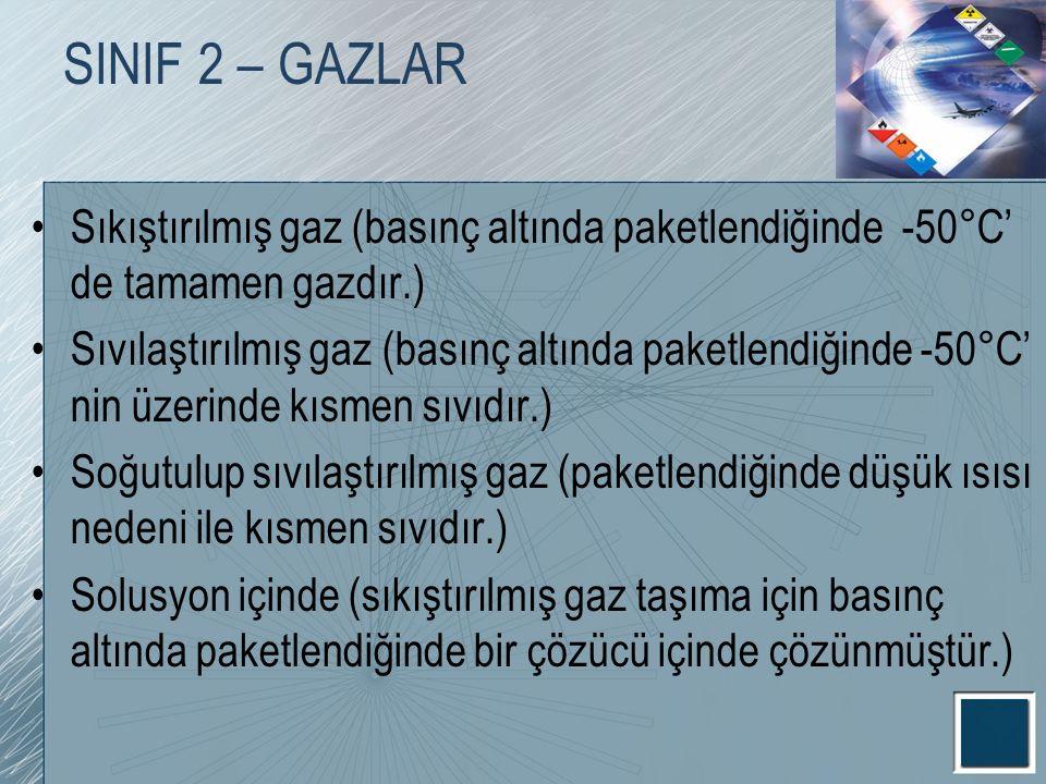 SINIF 2 – GAZLAR Sıkıştırılmış gaz (basınç altında paketlendiğinde -50°C' de tamamen gazdır.)