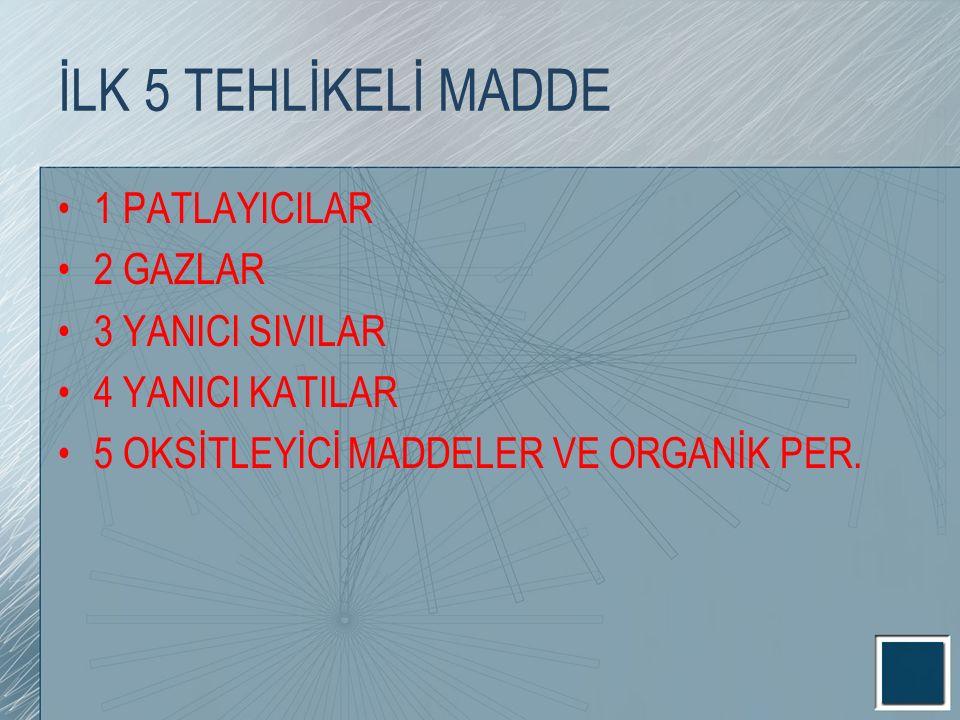 İLK 5 TEHLİKELİ MADDE 1 PATLAYICILAR 2 GAZLAR 3 YANICI SIVILAR