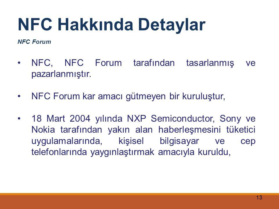 NFC Hakkında Detaylar NFC Forum. NFC, NFC Forum tarafından tasarlanmış ve pazarlanmıştır. NFC Forum kar amacı gütmeyen bir kuruluştur,