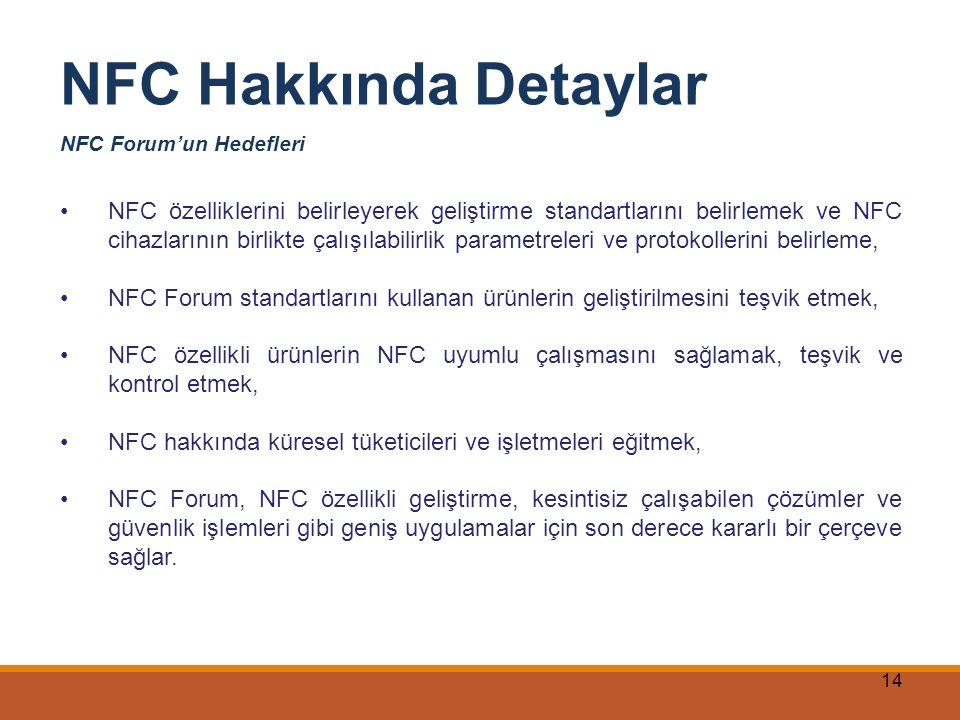 NFC Hakkında Detaylar NFC Forum'un Hedefleri.