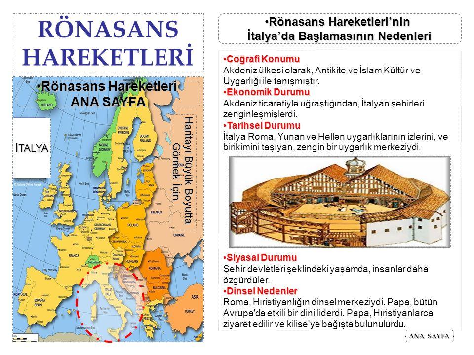 RÖNASANS HAREKETLERİ Rönasans Hareketleri ANA SAYFA