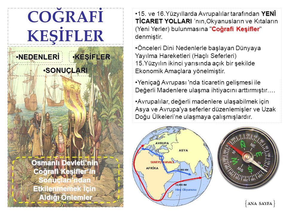 COĞRAFİ KEŞİFLER NEDENLERİ KEŞİFLER SONUÇLARI Osmanlı Devleti'nin