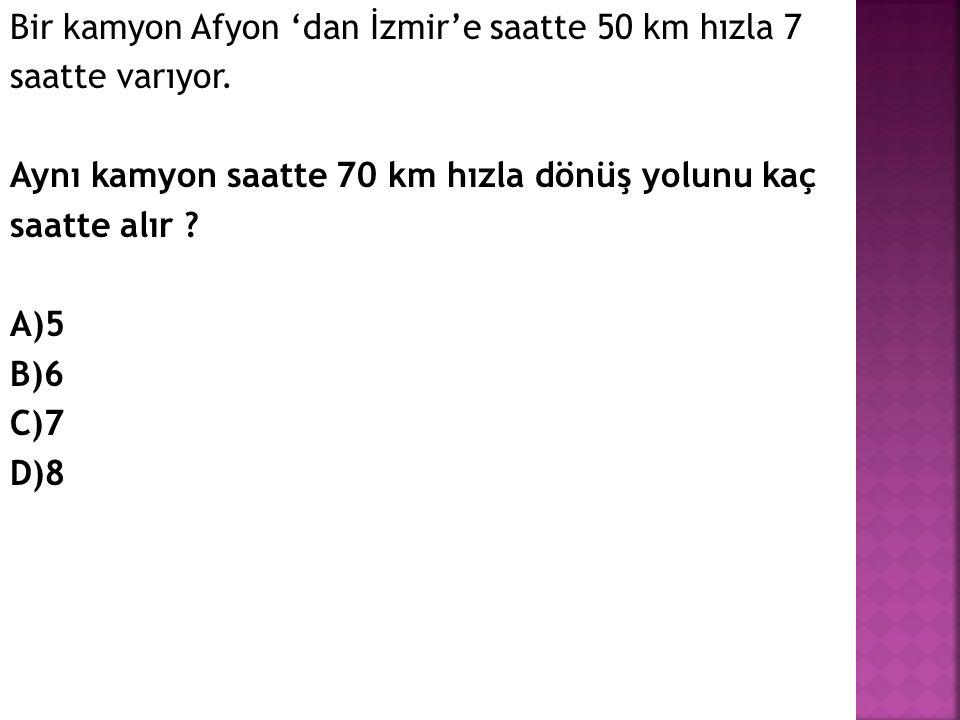 Bir kamyon Afyon 'dan İzmir'e saatte 50 km hızla 7 saatte varıyor