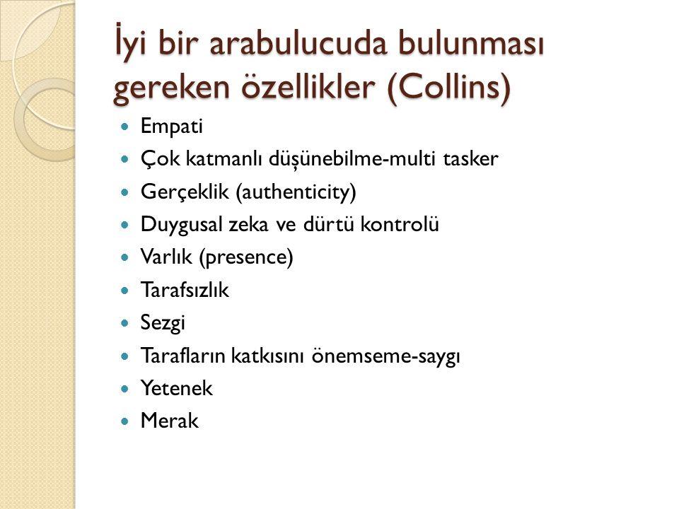 İyi bir arabulucuda bulunması gereken özellikler (Collins)