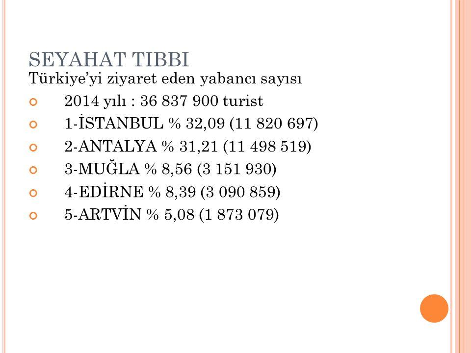 SEYAHAT TIBBI Türkiye'yi ziyaret eden yabancı sayısı