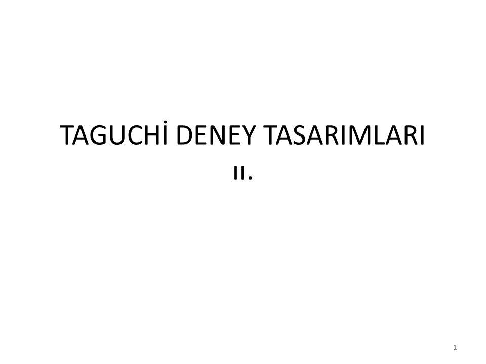 TAGUCHİ DENEY TASARIMLARI ıı.