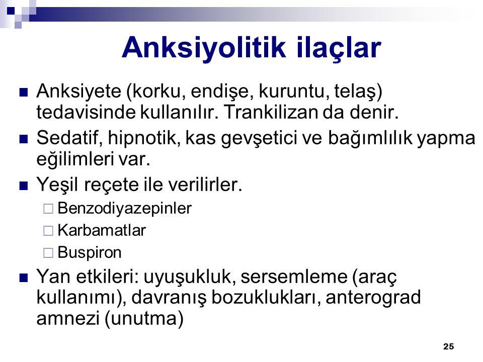Anksiyolitik ilaçlar Anksiyete (korku, endişe, kuruntu, telaş) tedavisinde kullanılır. Trankilizan da denir.