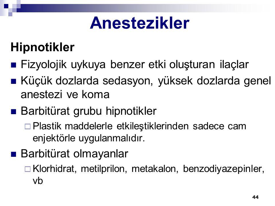Anestezikler Hipnotikler