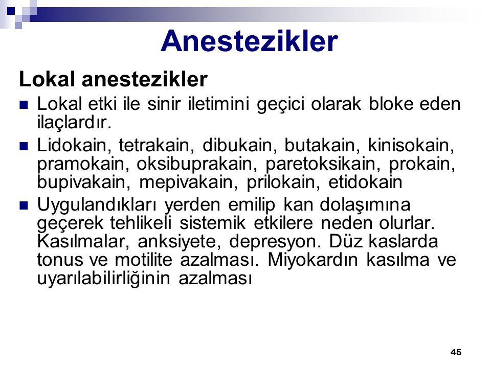 Anestezikler Lokal anestezikler