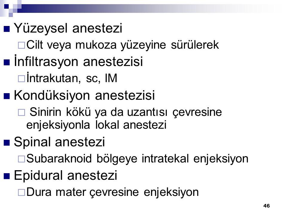 İnfiltrasyon anestezisi Kondüksiyon anestezisi