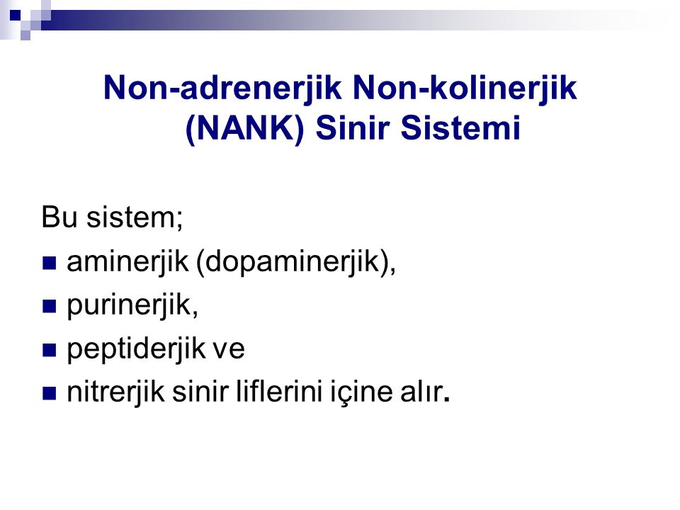 Non-adrenerjik Non-kolinerjik (NANK) Sinir Sistemi