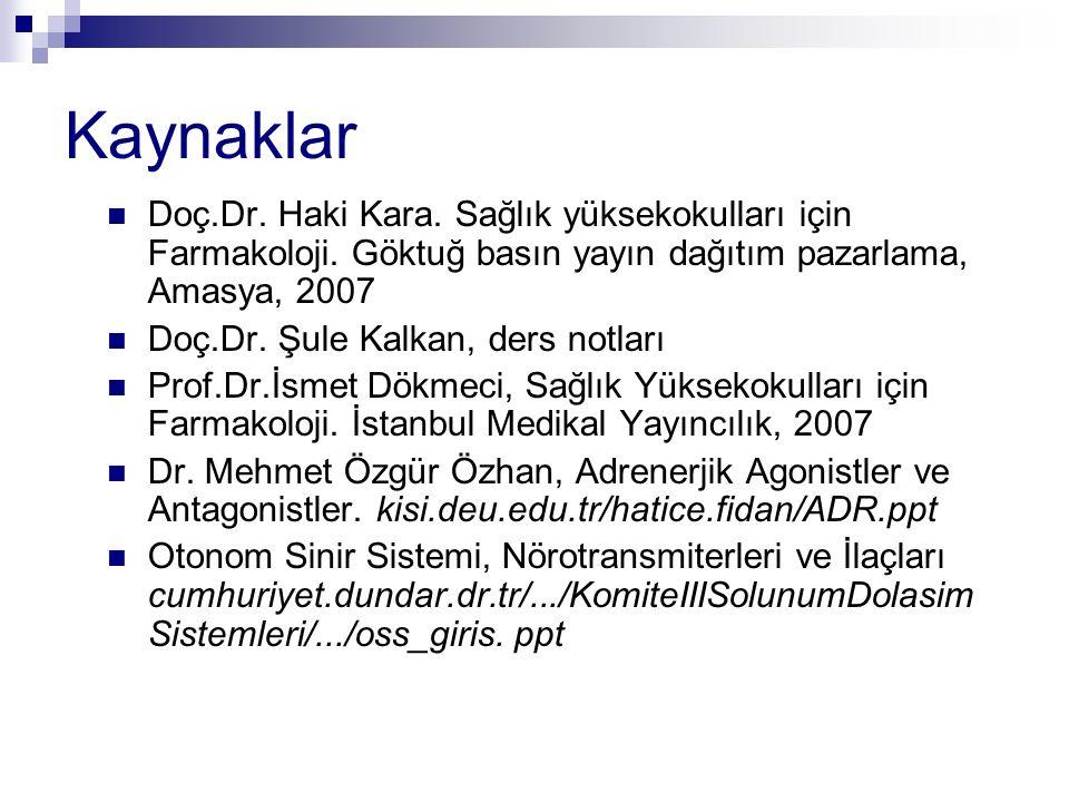 Kaynaklar Doç.Dr. Haki Kara. Sağlık yüksekokulları için Farmakoloji. Göktuğ basın yayın dağıtım pazarlama, Amasya, 2007.