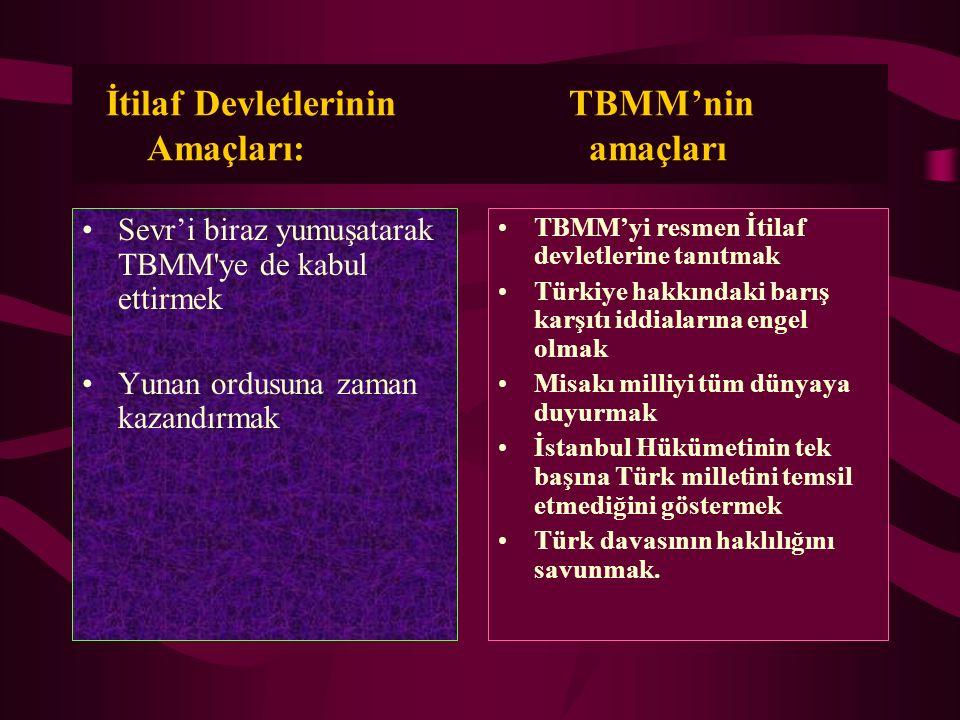 İtilaf Devletlerinin TBMM'nin Amaçları: amaçları