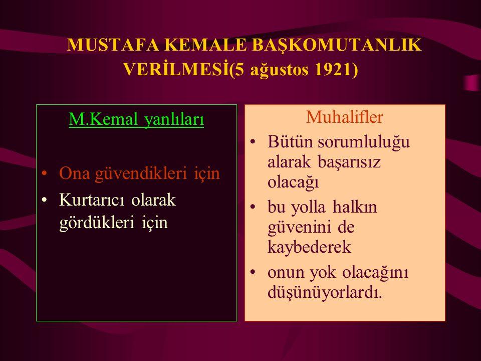 MUSTAFA KEMALE BAŞKOMUTANLIK VERİLMESİ(5 ağustos 1921)