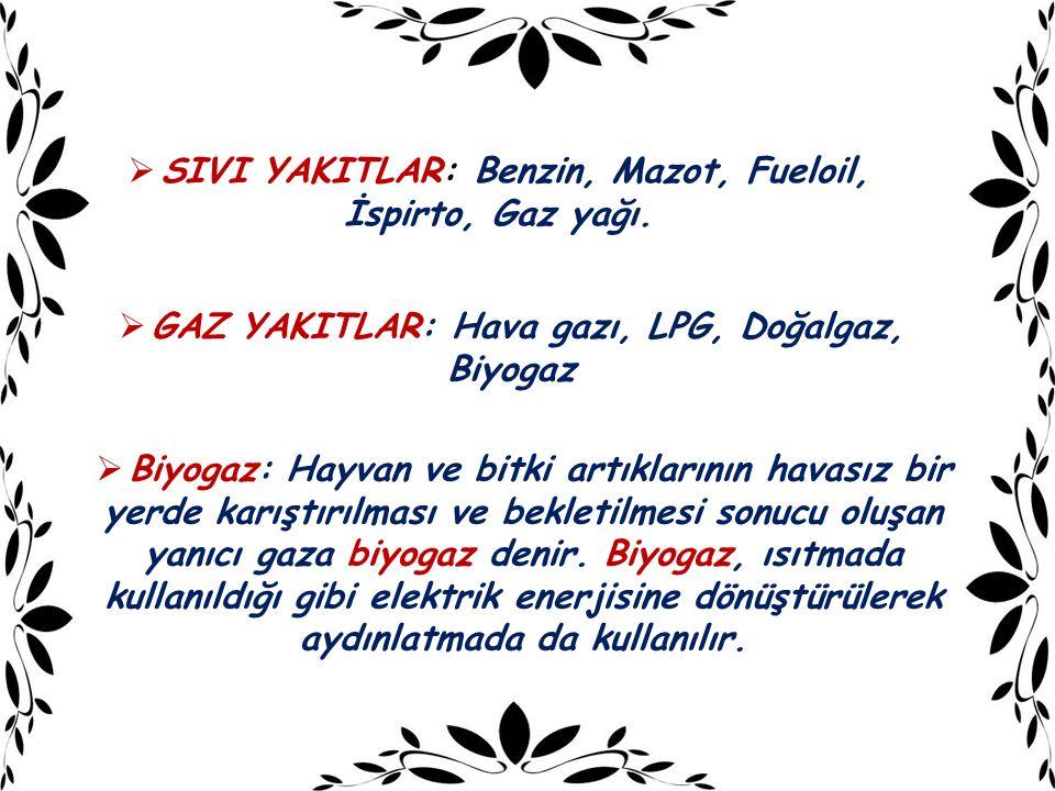 SIVI YAKITLAR: Benzin, Mazot, Fueloil, İspirto, Gaz yağı.