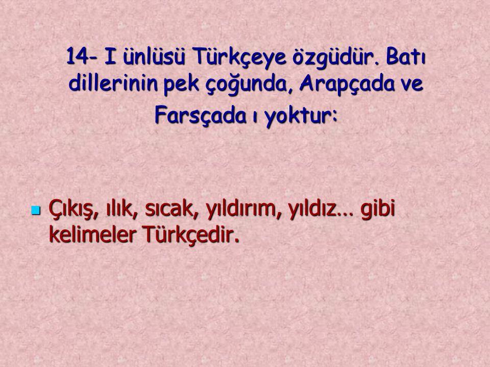 14- I ünlüsü Türkçeye özgüdür