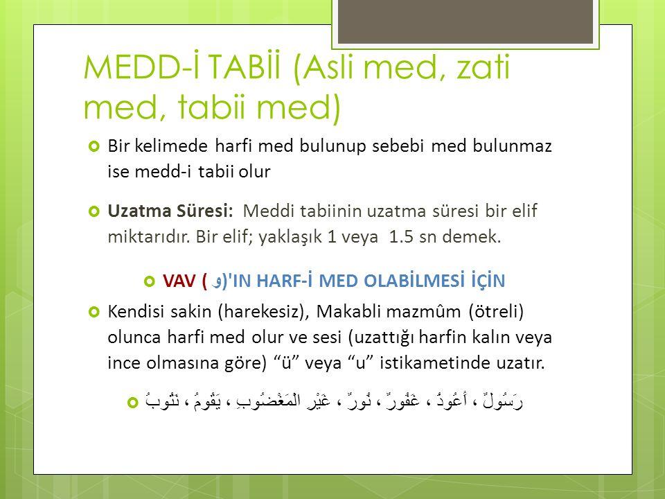 MEDD-İ TABİİ (Asli med, zati med, tabii med)