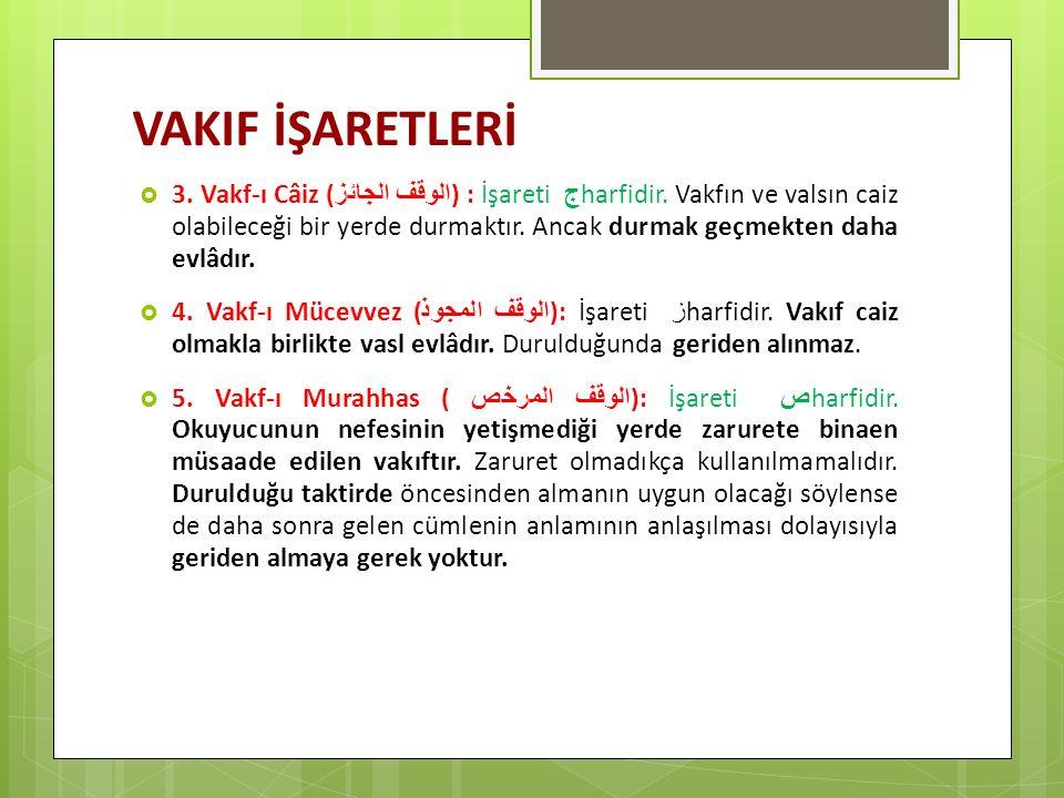 VAKIF İŞARETLERİ