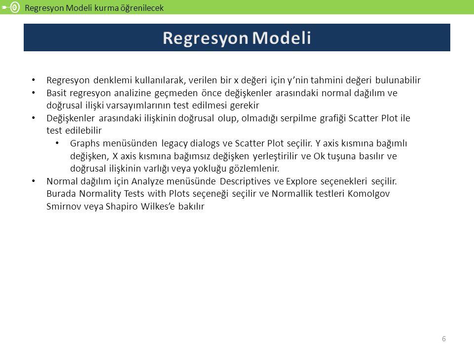 Regresyon Modeli kurma öğrenilecek