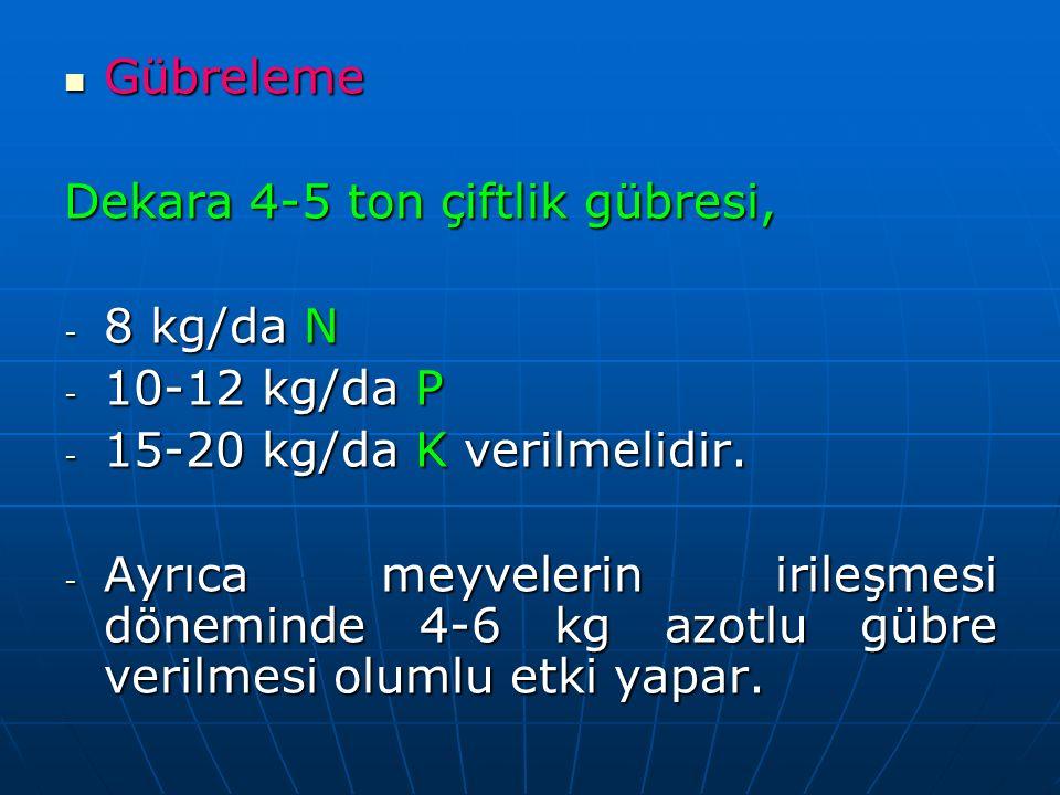 Gübreleme Dekara 4-5 ton çiftlik gübresi, 8 kg/da N. 10-12 kg/da P. 15-20 kg/da K verilmelidir.