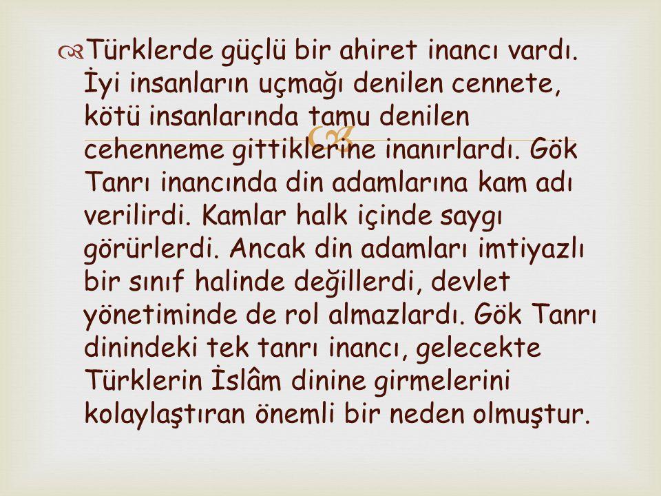 Türklerde güçlü bir ahiret inancı vardı