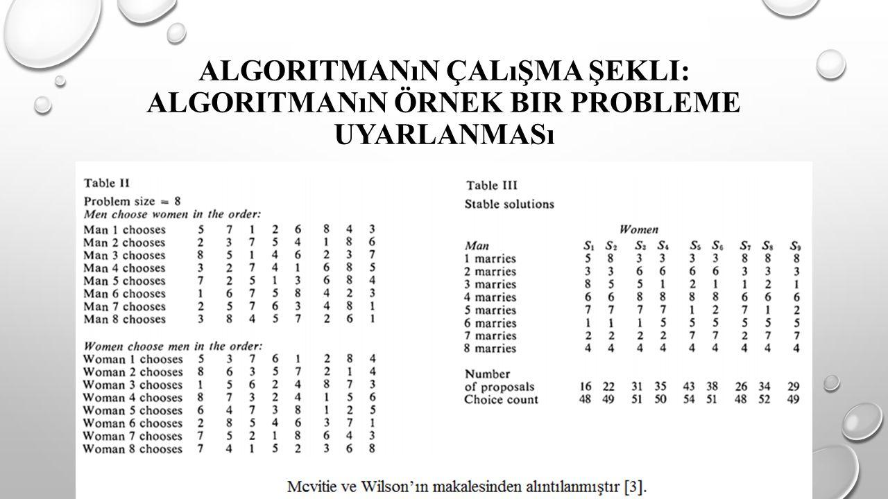 Algoritmanın Çalışma Şekli: Algoritmanın Örnek Bir Probleme Uyarlanması
