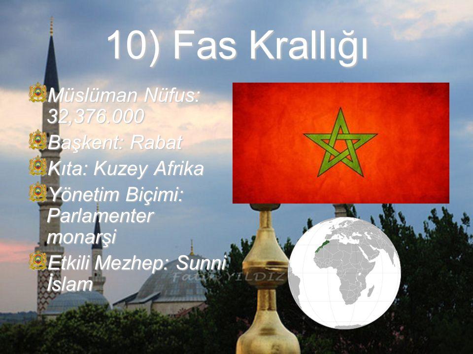 10) Fas Krallığı Müslüman Nüfus: 32,376.000 Başkent: Rabat