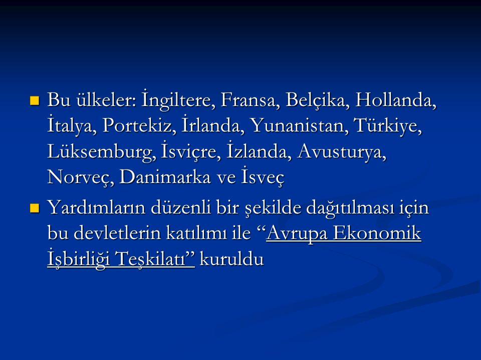 Bu ülkeler: İngiltere, Fransa, Belçika, Hollanda, İtalya, Portekiz, İrlanda, Yunanistan, Türkiye, Lüksemburg, İsviçre, İzlanda, Avusturya, Norveç, Danimarka ve İsveç