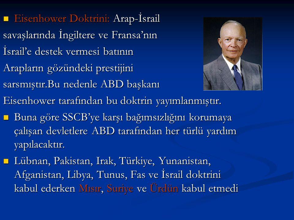 Eisenhower Doktrini: Arap-İsrail