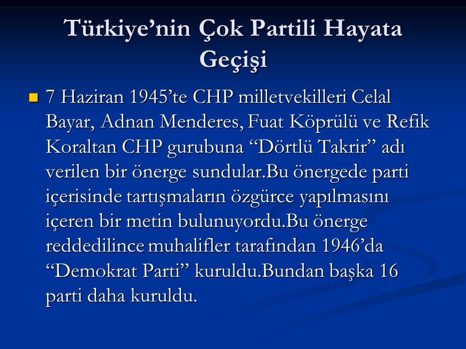 Türkiye'nin Çok Partili Hayata Geçişi